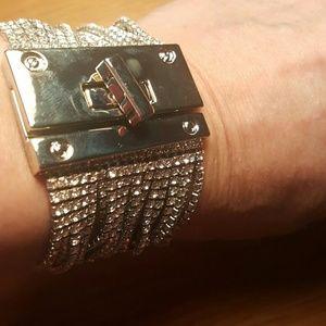 NWT EXPRESS Silver Rhinestone Turn Cuff Bracelet